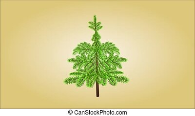 Christmas tree and golden snowflake