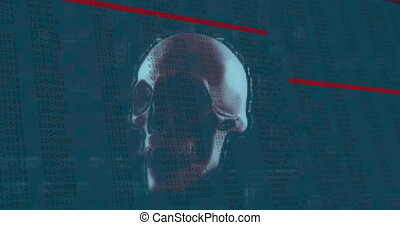 Animation of interface with digital data moving rapidly over rotating human skull and red lines. communication technology digital interface concept, digitally generated video.