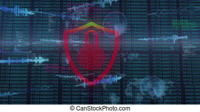 Animation of interface with moving digital data and red and green flashing padlock alert. data communication technology digital security interface concept, digitally generated video
