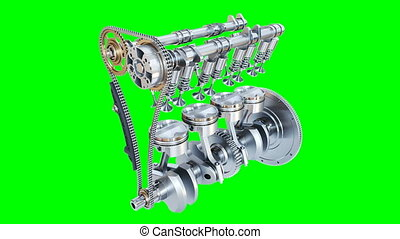 Animation of  internal combustion engine. Alpha channel. 3D render