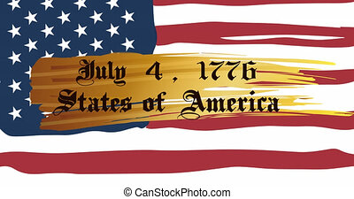 Animation of july 4, 1776 states of america text over american flag. patriotism, independence and celebration concept digitally generated video.
