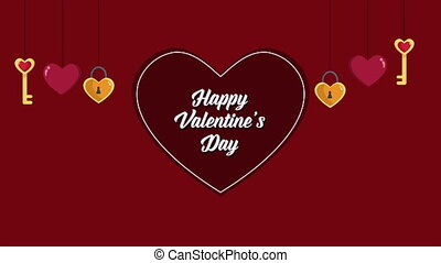 Animation of key heart for Valentine greeting