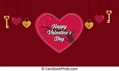 Animation of key heart with love tree for Valentine greeting