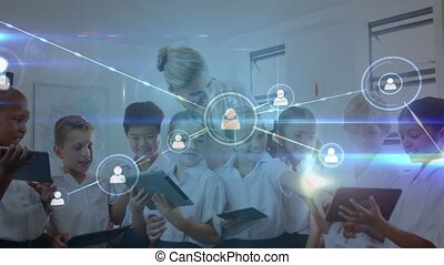 Animation of network of connections with icons and female teacher and schoolchildren in classroom using digital tablets in the background. Education and schooling concept digital composite.