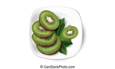 Animation of kiwi on a white plate.
