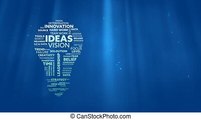 Animation of lightbulb shape filled with words creativity, ideas, initiative, courage written in white and green letters over glowing blue background. Global networking growth and brainstorming concept digitally generated image.