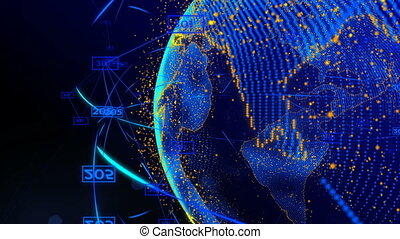 animation of lines and dots in cyberspace forming the planet earth