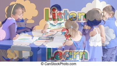 Animation of listen and learn text formed with puzzles over school children and clouds