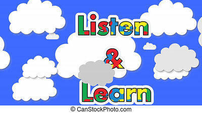 Animation of listen and learn text in autism awareness puzzles over white clouds on blue sky