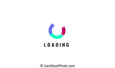 Animation of loading spiral circles icon on white...