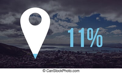 Animation of white map location pin filling up with blue and percent increasing from zero to seventy nine over cityscape with clouds on blue sky in the background. Global networking business travel in modern world concept combination image.