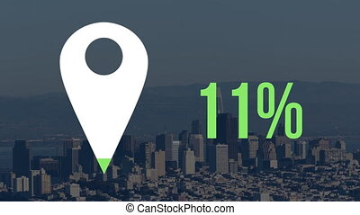 Animation of white map location pin filling up with green and percent increasing from zero to seventy nine over cityscape with clouds on blue sky in the background. Global networking business travel in modern world concept combination image.