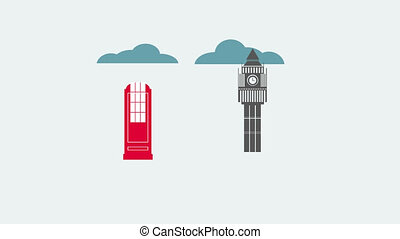 Animation of London with space for your text or logo,...