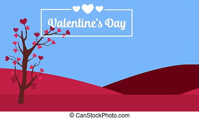 Animation of love tree in the scenery for Valentine day