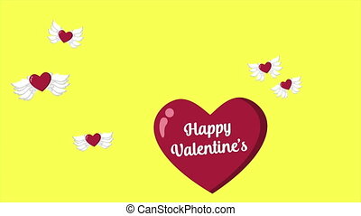 Animation of love wing fly for Happy Valentine
