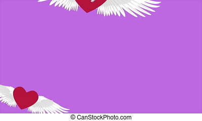 Animation of love wing fly for Valentine day