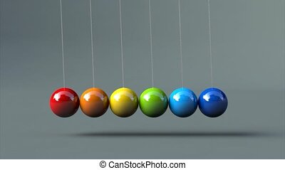 Animation of luminated colorful newton's cradle 3d animation