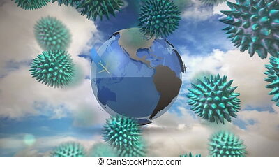 Animation of macro coronavirus Covid-19 cells spreading over a globe with planes flying around it