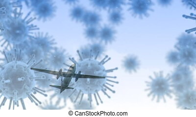 Animation of macro coronavirus Covid-19 cells spreading over a plane flying in a blue sky