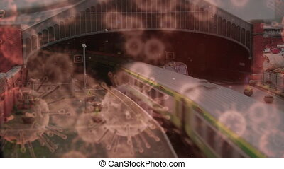 Animation of macro coronavirus Covid-19 cells spreading over a train leaving a platform at a railway