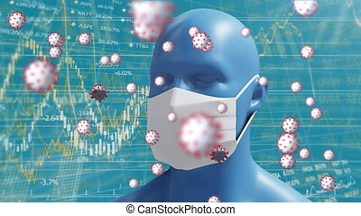 Animation of macro Covid-19 cells floating and 3D human head...