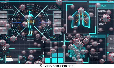 Animation of macro Covid-19 cells floating over human body ...
