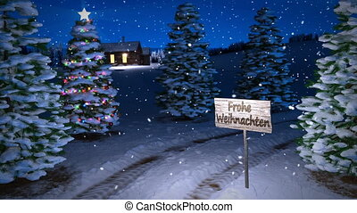 animation of magic german winter scene with cottage and...