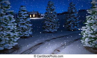 animation of magic winter snowfall night scene with snowy...
