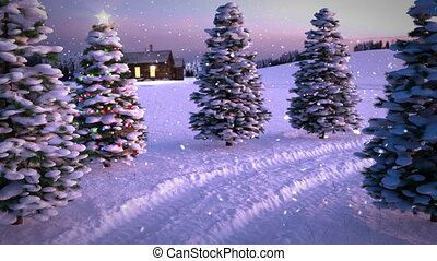 animation of magic winter sunset scene with cottage and...