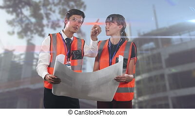 Animation of male and female architects engineers holding architectural plans