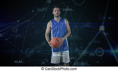 Animation of male basketball player, digital interface and data processing