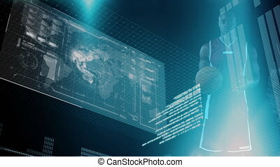 Animation of male basketball player, screen, digital interface and data processing