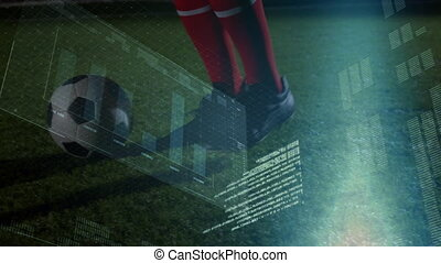 Animation of male football player kicking ball, statistics and data processing