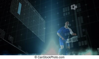 Animation of male football player striking ball data processing