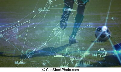 Animation of male football players kicking ball and network of connections