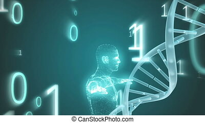 Animation of man prototype surrounded of dna and big data