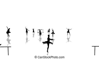 Animation of many silhouette dancers ballerina on a white...
