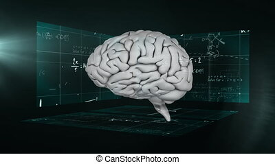 Animation of math equation and 3D brain with chalkboard in ...