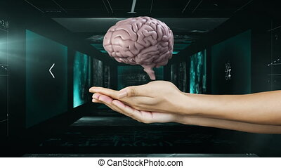 Animation of math equation on scientist screens and 3D brain holding by hands