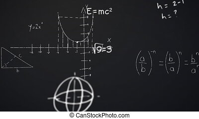 Animation of math equations hand written on chalkboard - ...