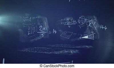 Animation of math equations handwritten on chalkboard - ...