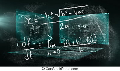 Animation of mathematical equations written on a chalkboard ...