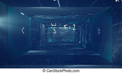 Animation of mathematical formulae floating and written on ...