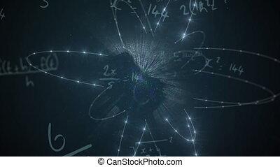 Animation of mathematical formulae floating over glowing ...
