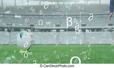 Animation of mathematical symbols floating over mixed race male rugby player
