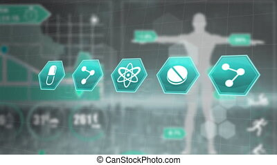 Animation of medical icons in a row over human body data and...