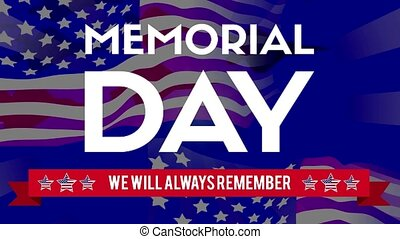Animation of memorial day theme with flag background