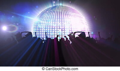 Animation of mirror disco ball spinning with silhouettes of crowd of people dancing