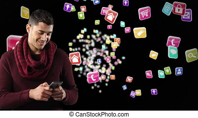 Animation of mixed race man smiling and using his smartphone with colorful icons floating on black b