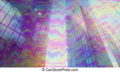 Animation of modern office buildings with stripes in ...